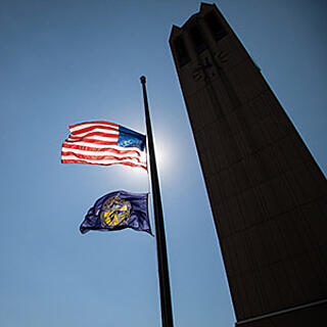 Campanile Flags Lowered